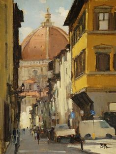 Short-cut to the Duomo Florence    by Brian Blood   Oil12 x 9
