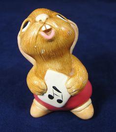 "Vintage Pendelfin Hand Painted Stonecraft Rabbit Figurine Singing Music ""Rolly"""