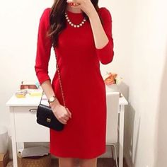 FINAL PRICE  HP 1/12  J. Crew Dress Beautiful J Crew Factory red dress with exposed zipper. Thicker ponte knit material is super flattering and great for winter. Brand new with tags, has never been worn. Sold out online. Price is FIRM, no offers, please J. Crew Dresses Midi