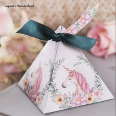 50 PCS Unicorn Triangular Pyramid Wedding Favor Candy Boxes With Ribbo – Wedding Shop World Wedding Candy Boxes, Wedding Party Favors, Wedding Gifts, Party Favours, Cheap Gift Bags, Teal Ribbon, Chocolate Gift Boxes, Gift Wrapper, Childrens Party