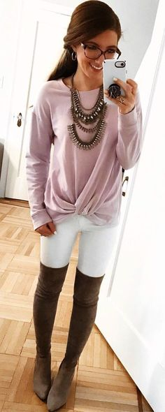 Long Sleeve Round Ne Long Sleeve Round Neck Pink T-Shirt Womens White Skinny Jeans Brown Thigh High Boots. Pic By Winter Outfits, Trendy Summer Outfits, Cute Spring Outfits, Fall Fashion Outfits, Autumn Fashion, Casual Outfits, Cute Outfits, Women's Fashion, Brown Thigh High Boots