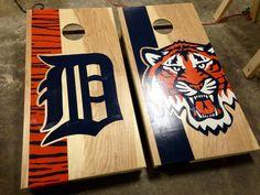 Detroit Tigers Cornhole Boards by Wood&Bark.