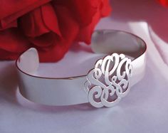 Sterling Silver Monogram Cuff Bracelet
