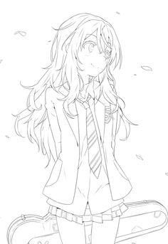 cute anime girl lineart chifuyu-san