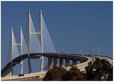The Sidney Lanier Bridge is a cable-stayed bridge that spans the Brunswick River and connects  Brunswick to Jekyll Island, GA. It is currently the longest spanning bridge in Georgia and is 480' tall. http://g.co/maps/hbu3k