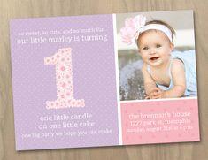 Baby Girl First 1st Birthday Photo Invitation  by DesignAndLife, $16.00