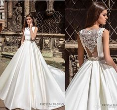 New Arrival Bateau Embellishments Accent Back Crystal Design 2016 Wedding Dresses Beaded Sash Bridal Ball Gowns Satin Wedding Dress Valencia Online with $117.59/Piece on Hjklp88's Store