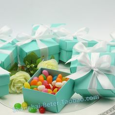Tiffany blue Favor Boxes with ribbon (DIY) TH040 Holiday Party Decoration