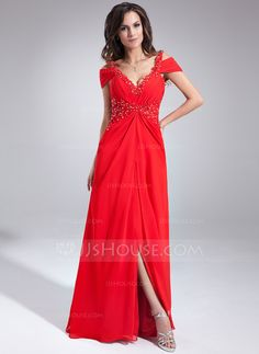 A-Line/Princess V-neck Floor-Length Chiffon Evening Dress With Ruffle Beading Appliques Lace (017020677) - JJsHouse