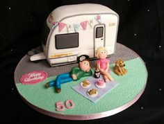 Cake Inspirations -Cakes for all occasions Adult Birthday Cakes, Birthday Cakes For Women, 70th Birthday, Caravan Cake, Boat Cake, Camping Cakes, Cake Models, 50 Party, Sarah Kay