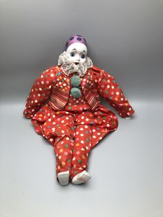 """Bisque Porcelain 15"""" Madame Verte Design Clown Jester in Red Polka Dot Outfit by Anaforia on Etsy Pierrot Clown, Me Clean, Polka Dots, Porcelain, Dolls, Outfit, Red, Blue, Vintage"""
