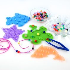 Montessori Transferring Counting Sorting Pouring Manipulative - beads, dishes, tweezers, suction cup bath toys, lacing, pipette