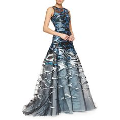 Carolina Herrera Wave Jacquard & Embroidered Tulle Full Gown featuring polyvore fashion clothing dresses gowns blue multicolor blue ball gown blue gown blue tulle dress short dresses see through dress