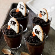 "Graveyard Dirt Dessert Cups    Chocolate pudding treats with crushes Oreo ""dirt"" and R.I.P. headstone cookies."