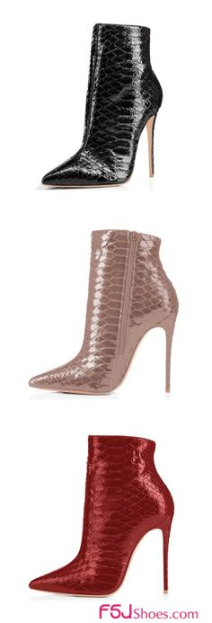 FSJ Fall and Winter Fashion London Street Style 2017 Chic Party Dress Charming Black/Pink/Red Fashion Boots Stiletto Heel Snake Leather Pointy Toe Ankle Boots For Christmas Party Outfit For New Year Gifts|TOP DESIGN BY FSJ