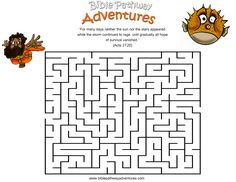 A maze Activity Sheet for kids from the story, Shipwrecked!