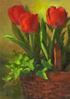 """Basket of Tulips"" - Original Fine Art for Sale - © Linda Jacobus"