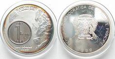 1999 St. Thomas & Prinzeninsel ST. THOMAS & PRINCE IS. 2000 Dobras - 1 Euro 1999 silver BELGIUM 1 Franc # 95164 Proof