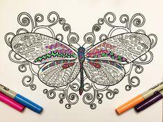 Butterfly & Swirls  PDF Zentangle Coloring Page por DJPenscript