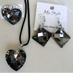 """4-piece Heart Jewelry Gift Set - 1"""" Large Glass Heart Necklace, 1.5"""" Large Heart Ring, and 2 Square 1"""" Glass Earrings - Best Valentines Day Gift for Her - Beautiful Heart Pendant Gift for Women (Misc.)  http://www.amazon.com/dp/B006R0ME6A/?tag=quickdiet0f-20  B006R0ME6A"""