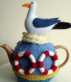 Seagull at tea. Fits 4 cup teapot by teapothats on Etsy, $55.00