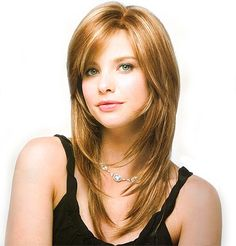 Side Fringe Layered Hairstyle. Nice color and highlights   Straight hairstyles for round faces are layers, shaggy or step cut is look good for the girls because round face with straight hair that is gives impressive look and enhance the personality.   Whispering thin bangs, waves and curls also compliments number faces and balances the allover construction of the face. #Cake