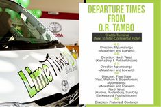 Trips to and from OR Tambo International Airport. Contact us on 087 094 9444 to make your booking. #limetimeshuttle #ortambo #shuttle