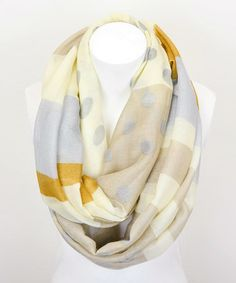 Another great find on #zulily! Khaki & Blue Stripe Dots Infinity Scarf by Leto Collection #zulilyfinds