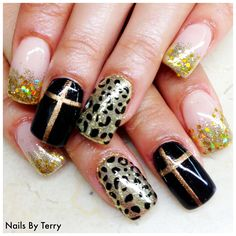 Gel polish black, nude, gold & with Bronze crosses...nails by Terry