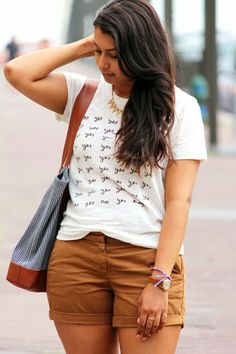linen tee and shorts