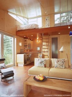 Light and airy loft bedroom.  Gallery: The C3 Cabin by Vandeventer + Carlander « Small House Bliss
