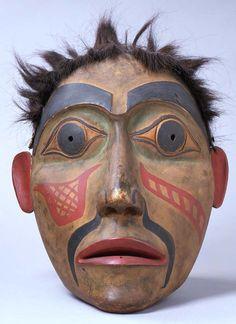 unknown Haida artist (Haida), Portrait Mask, ca. 1900, wood, paint, and hair Portland Art Museum