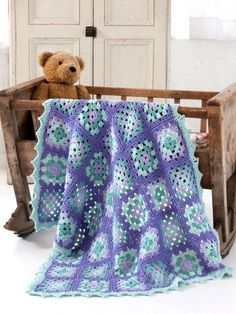 Crochet Baby Granny Square Blanket free pattern