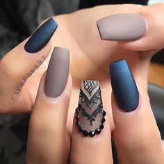 Matte Nude Dark Blue Black Lace Nails