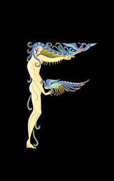 Romain de Tirtoff (Erte) – The Alphabet: Letter «F Art Nouveau, Design Graphique, Art Graphique, Moda Art Deco, Stars D'hollywood, Erte Art, Romain De Tirtoff, Art Deco Artists, Art Deco Illustration