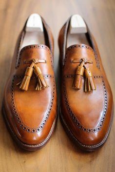 Camel Leather St. Crispin Tassel Loafer. Men's Spring Summer Fashion.