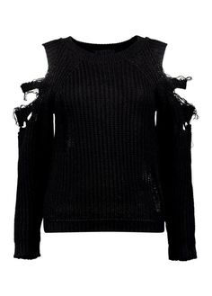 Distressed Cold Shoulder Jumper