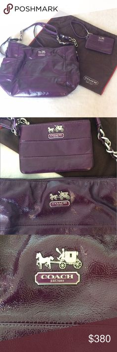 💜Purple Coach purse/wristlet, NWOT Purple patent leather Coach purse with matching wristlet and dust bag. Lavender satin lining inside wristlet and purse, 1 large zippered pocket on inside of purse and 2 smaller open pockets, as well as 1 open pocket on each side of the bag itself. The wristlet measures 6in wide, 4in tall. The purse measures 16in wide, 11in tall, with an attached strap as well as a detachable shoulder strap. Silver hardware on both. No tags attached but never worn…