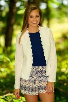 Show Me the Money Scalloped Blazer-White I love this whole outfit