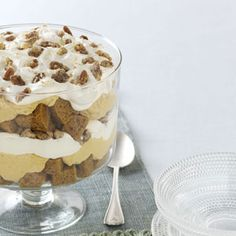 Pumpkin Mousse Trifle - There's more than one way to use a pumpkin. Instead of jack-o'-lanterns, turn your Halloween pumpkins into something decadent. This Pumpkin Mousse Trifle captures the creamy texture and spicy flavors of fall. Pumpkin Trifle, Pumpkin Mousse, Pumpkin Recipes, Fall Recipes, Delicious Desserts, Dessert Recipes, Sushi, Thanksgiving Desserts, Fall Desserts