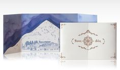 Ski lodge chic meets fairy tale wedding invitation with watercolor landscape
