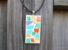 Vintage Fiesta Mosaic Pendant by PamelasPieces on Etsy, $19.99