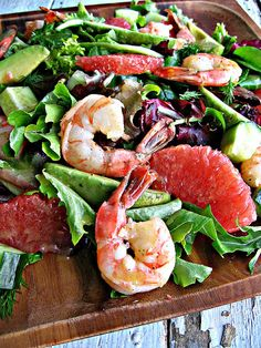 Grapefruit, shrimp, and avocado salad.