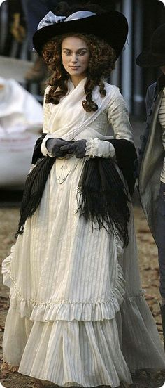 """Keira Knightley in costume as the inimitable Georgianna of Devonshire in """"The Duchess"""" The late Century Georgian costumes were created by Michael O'Connor. Knightley wears a Gainsborough hat, named for the iconic English painter of her era. Period Costumes, Movie Costumes, Cool Costumes, Theatre Costumes, The Duchess, Keira Christina Knightley, Keira Knightley, Historical Costume, Historical Clothing"""