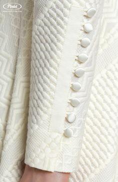 Pintel Store — ANGELIQUE — designer women's dress in textured cotton (Italy) Simple Pakistani Dresses, Pakistani Bridal Wear, Pakistani Dress Design, Simple Kurta Designs, Stylish Dress Designs, Sleeves Designs For Dresses, Sleeve Designs, Kurti Embroidery Design, Fabric Manipulation