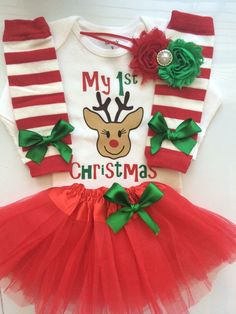 395626df46e4 Baby Girl 1st Christmas outfit - Newborn and 3 month My first Christmas  Outfit- 4 piece newborn outfit