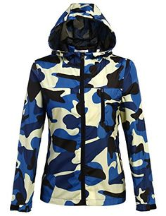Meaneor Womens Military coat Softshell lightweight camouflage jacket Hoodie Blue M ** Continue to the product at the image link.