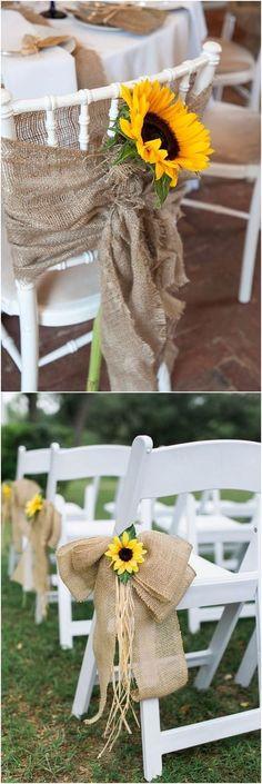 burlap and lace wedding chair decor #weddings #weddinginspiration #rustic #outdoor