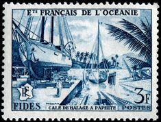 Sailboats in dry dock, Papeete, Tahiti, designed and engraved by Jean Pheulpin, and issued for use in French Polynesia (Oceanic Settlements) on October 22, 1956 to publicize the Economic and Social Development Fund, Scott No. 181.