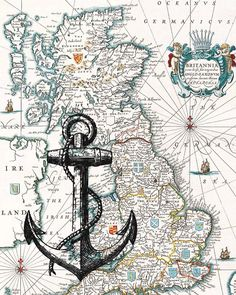 Black Anchor Print on antique map of England Wall map by PrintLand, $13.50